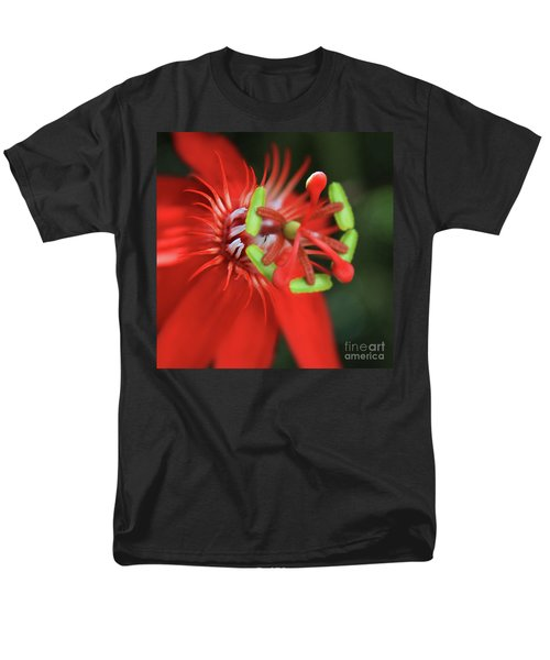 Men's T-Shirt  (Regular Fit) featuring the photograph Passiflora Vitifolia Scarlet Red Passion Flower by Sharon Mau