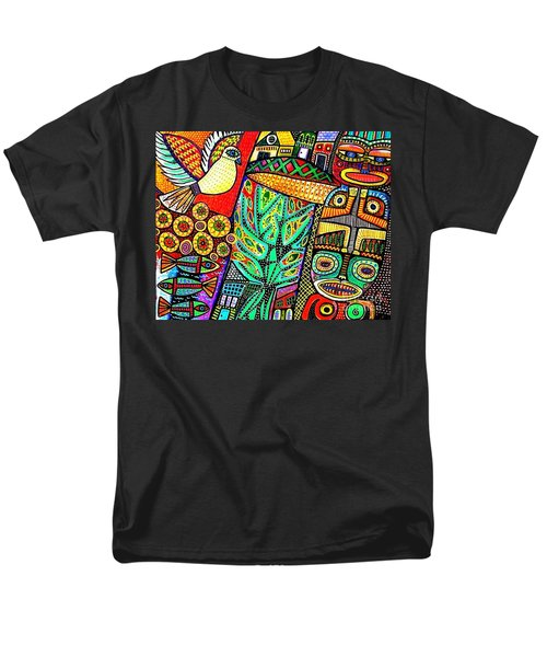 Peace Dove In Totem Forest Men's T-Shirt  (Regular Fit) by Sandra Silberzweig