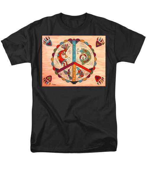 Men's T-Shirt  (Regular Fit) featuring the painting Peace Love And Harmony by Susie WEBER