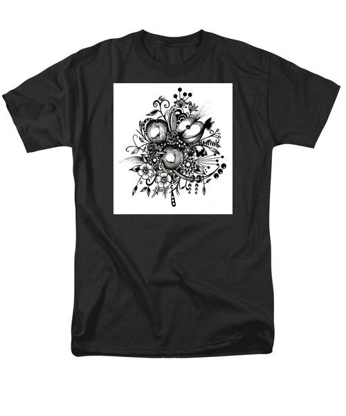 Men's T-Shirt  (Regular Fit) featuring the drawing Pen And Ink Drawing Apples Black And White Art by Saribelle Rodriguez