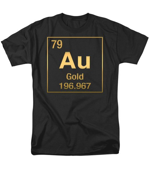Periodic Table Of Elements - Gold - Au - Gold On Black Men's T-Shirt  (Regular Fit) by Serge Averbukh
