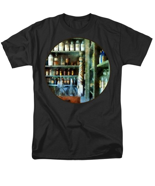 Men's T-Shirt  (Regular Fit) featuring the photograph Pharmacy - Back Room Of Drug Store by Susan Savad