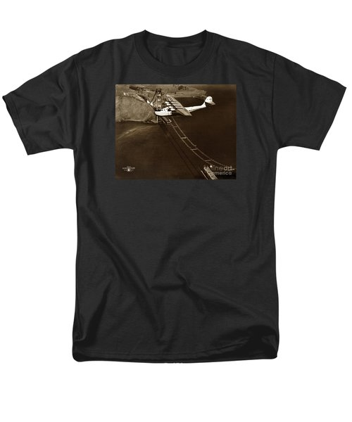 Philippine Clipper A Pan Am Clipper Over The Golden Gate Bridge  1935 Men's T-Shirt  (Regular Fit) by California Views Mr Pat Hathaway Archives