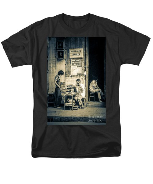 Men's T-Shirt  (Regular Fit) featuring the photograph Phonecall On Chinese Street by Heiko Koehrer-Wagner