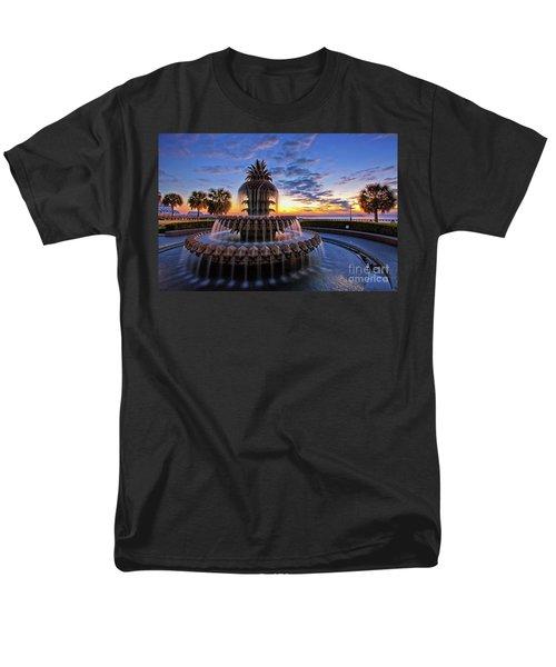 The Pineapple Fountain At Sunrise In Charleston, South Carolina, Usa Men's T-Shirt  (Regular Fit) by Sam Antonio Photography