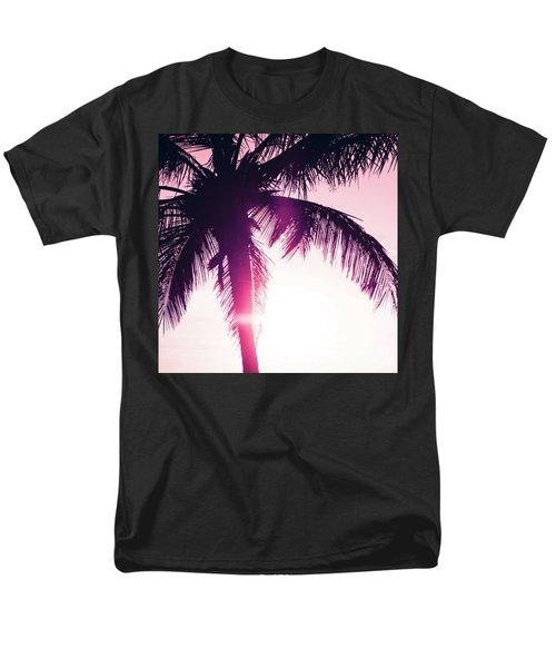 Men's T-Shirt  (Regular Fit) featuring the photograph Pink Palm Tree Silhouettes Kihei Tropical Nights by Sharon Mau