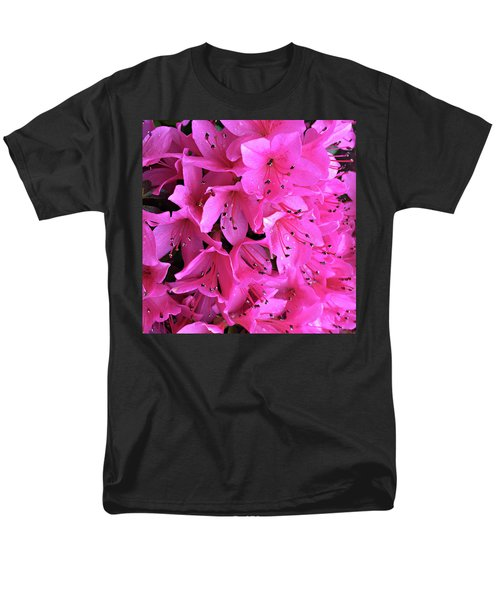 Men's T-Shirt  (Regular Fit) featuring the photograph Pink Passion In The Rain by Sherry Hallemeier