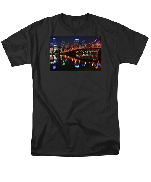 Pittsburgh Lights Men's T-Shirt  (Regular Fit) by Frozen in Time Fine Art Photography