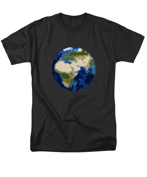 Pixel Earth Design Men's T-Shirt  (Regular Fit) by Martin Capek