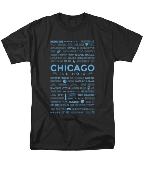 Places Of Chicago Blue On Black Men's T-Shirt  (Regular Fit)