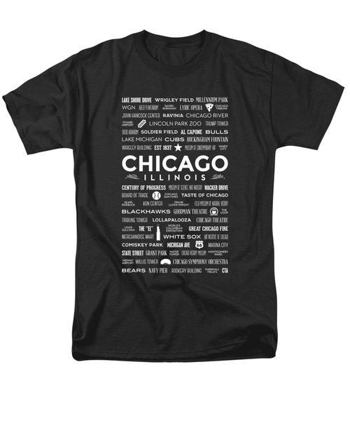 Places Of Chicago On Black Chalkboard Men's T-Shirt  (Regular Fit) by Christopher Arndt