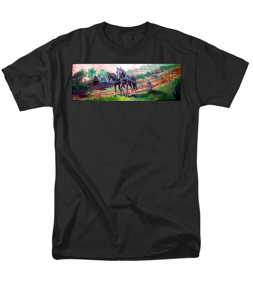 Men's T-Shirt  (Regular Fit) featuring the painting Ploughing by Paul Weerasekera