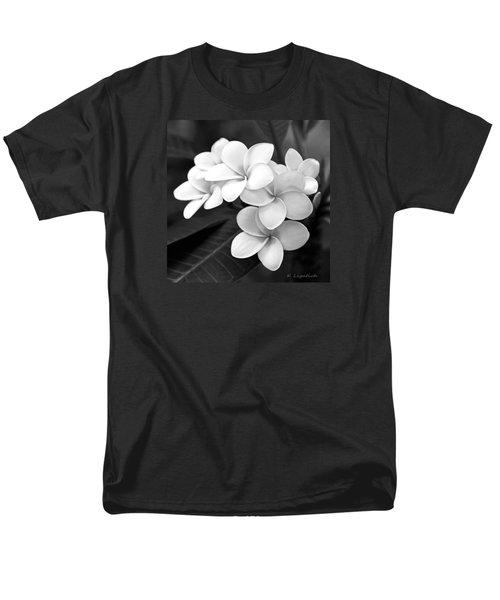 Plumeria - Black And White Men's T-Shirt  (Regular Fit) by Kerri Ligatich
