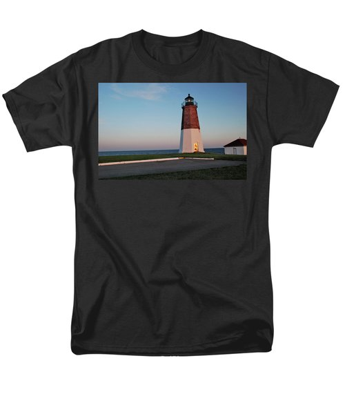 Point Judith Lighthouse Rhode Island Men's T-Shirt  (Regular Fit) by Nancy De Flon