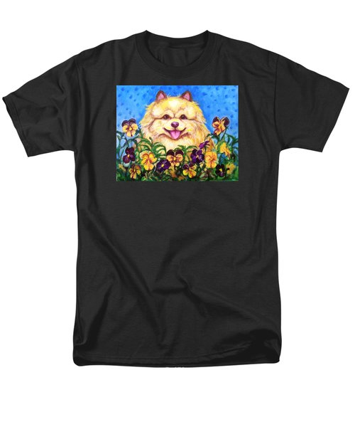 Men's T-Shirt  (Regular Fit) featuring the painting Pomeranian With Pansies by Laura Aceto