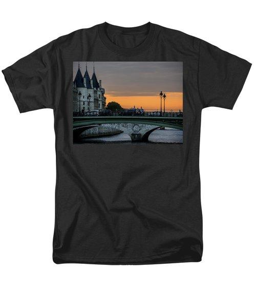 Men's T-Shirt  (Regular Fit) featuring the photograph Pont Au Change Paris Sunset by Sally Ross