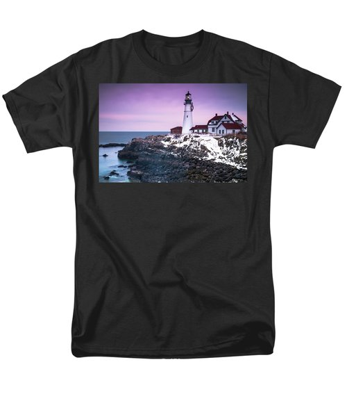 Maine Portland Headlight Lighthouse In Winter Snow Men's T-Shirt  (Regular Fit) by Ranjay Mitra