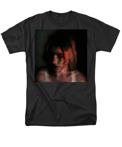 Men's T-Shirt  (Regular Fit) featuring the painting Portrait Painting Of Girl In Red Gray Black With Wistful Thoughts Of Fleeting Memories by MendyZ