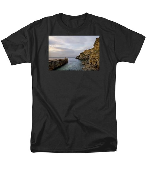 Men's T-Shirt  (Regular Fit) featuring the photograph Portreath Harbour, Cornwall Uk by Shirley Mitchell