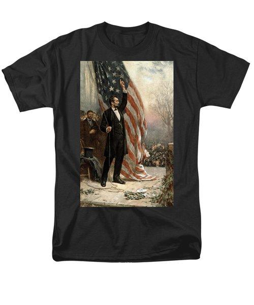 President Abraham Lincoln - American Flag Men's T-Shirt  (Regular Fit) by International  Images