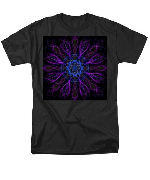 Men's T-Shirt  (Regular Fit) featuring the photograph Purple Blue Kaleidoscope Square by Adam Romanowicz