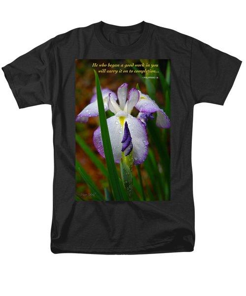 Purple Iris In Morning Dew Men's T-Shirt  (Regular Fit) by Marie Hicks