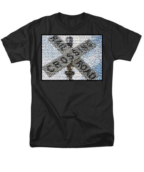 Men's T-Shirt  (Regular Fit) featuring the mixed media Railroad Crossing Trains Mosaic by Paul Van Scott