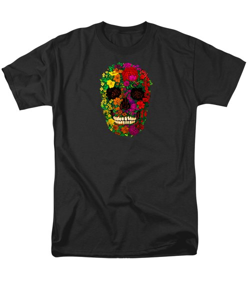Rainbow Flowers Sugar Skull Men's T-Shirt  (Regular Fit) by Three Second