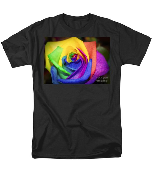 Rainbow Rose In Paint Men's T-Shirt  (Regular Fit) by Janice Rae Pariza