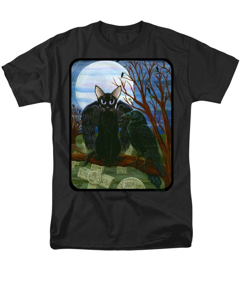 Men's T-Shirt  (Regular Fit) featuring the painting Raven's Moon Black Cat Crow by Carrie Hawks