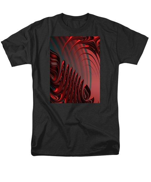 Red And Black Modern Fractal Design Men's T-Shirt  (Regular Fit)