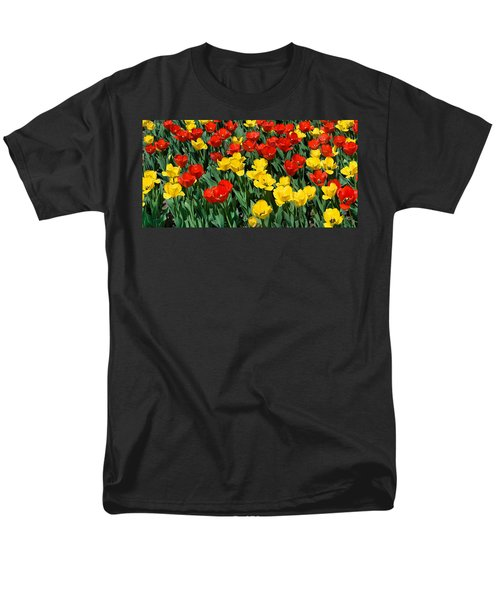 Red And Yellow Tulips  Naperville Illinois Men's T-Shirt  (Regular Fit) by Michael Bessler
