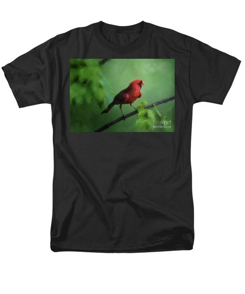 Red Bird On A Hot Day Men's T-Shirt  (Regular Fit) by Lois Bryan