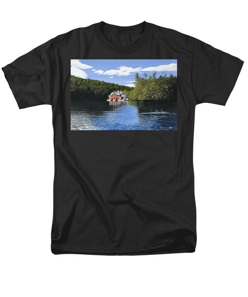 Red Boathouse Men's T-Shirt  (Regular Fit) by Kenneth M  Kirsch