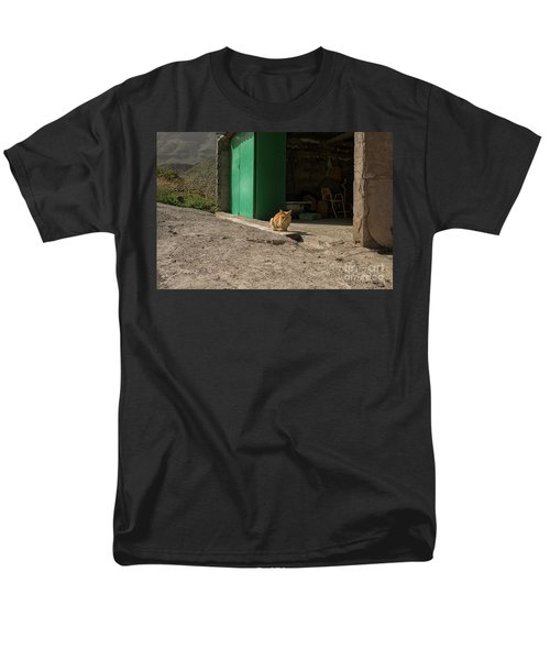 Red Cat And Green Shed Men's T-Shirt  (Regular Fit) by Patricia Hofmeester