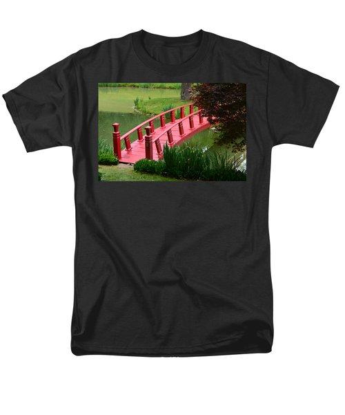 Men's T-Shirt  (Regular Fit) featuring the photograph Red Garden Bridge by Kathleen Stephens
