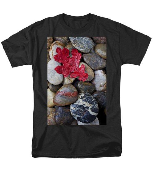 Red Leaf Wet Stones Men's T-Shirt  (Regular Fit) by Garry Gay