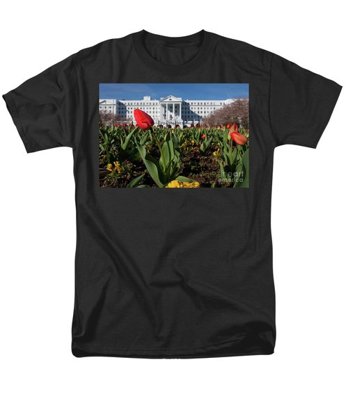 Red Tulip At The Greenbrier Men's T-Shirt  (Regular Fit) by Laurinda Bowling