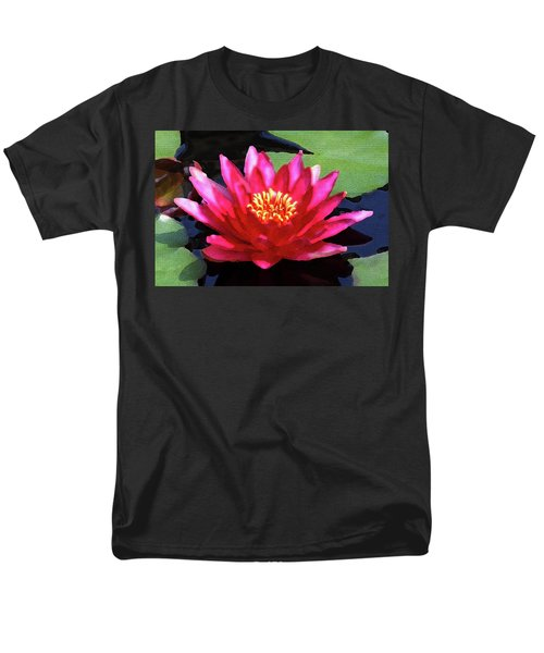 Red Water Lily - Palette Knife Men's T-Shirt  (Regular Fit) by Lou Ford