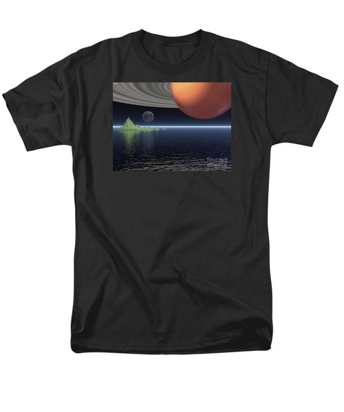 Men's T-Shirt  (Regular Fit) featuring the digital art Reflections Of Saturn by Phil Perkins