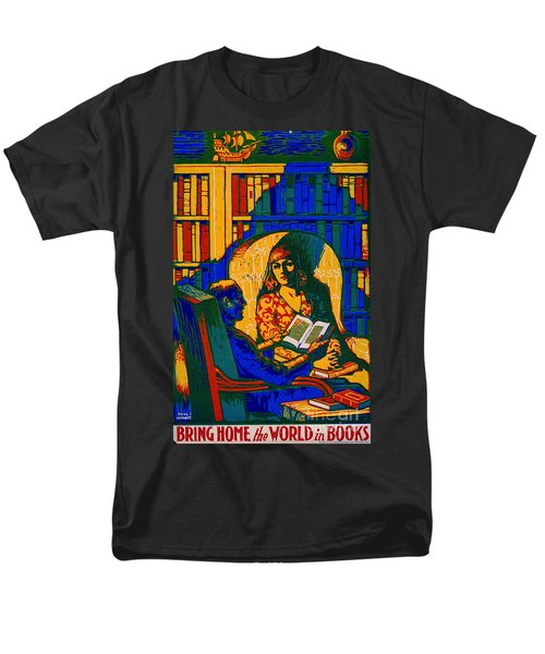 Men's T-Shirt  (Regular Fit) featuring the photograph Retro Books Poster 1920 by Padre Art
