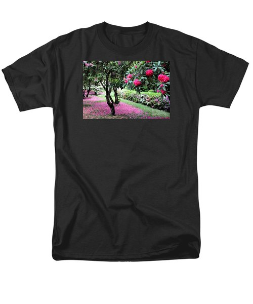 Rhododendrons Blooming Villa Carlotta Italy Men's T-Shirt  (Regular Fit) by Tanya Searcy