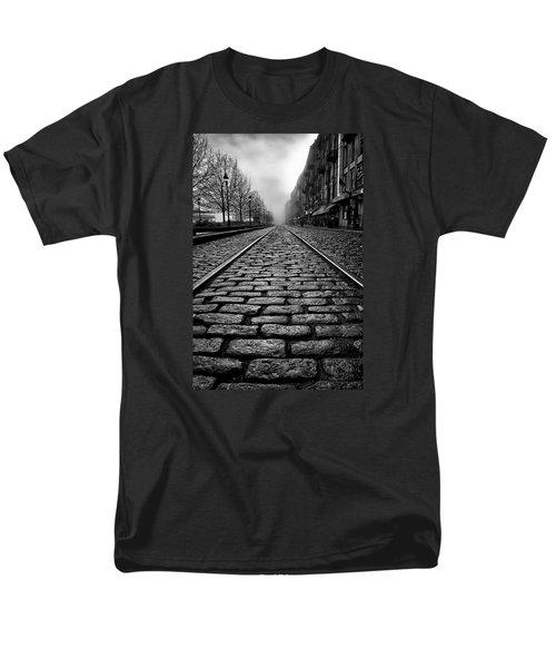 River Street Railway - Black And White Men's T-Shirt  (Regular Fit) by Renee Sullivan