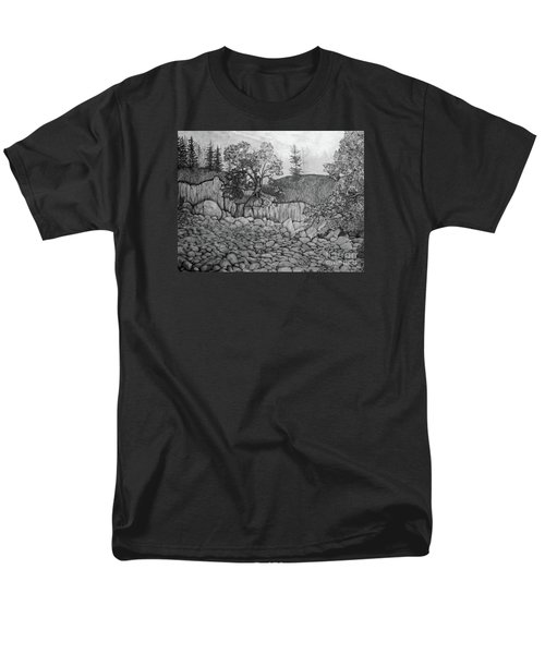 Men's T-Shirt  (Regular Fit) featuring the drawing Rock Beach by John Stuart Webbstock