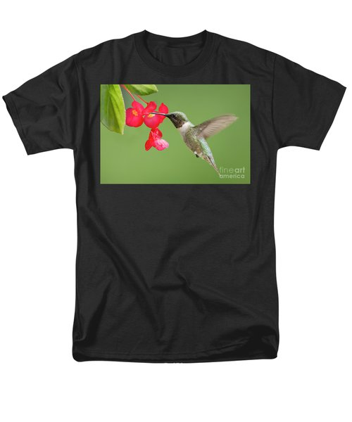 Men's T-Shirt  (Regular Fit) featuring the photograph Ruby Throated Hummingbird Feeding On Begonia by Bonnie Barry