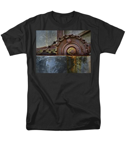 Men's T-Shirt  (Regular Fit) featuring the photograph Rustic Gear And Chain by David and Carol Kelly