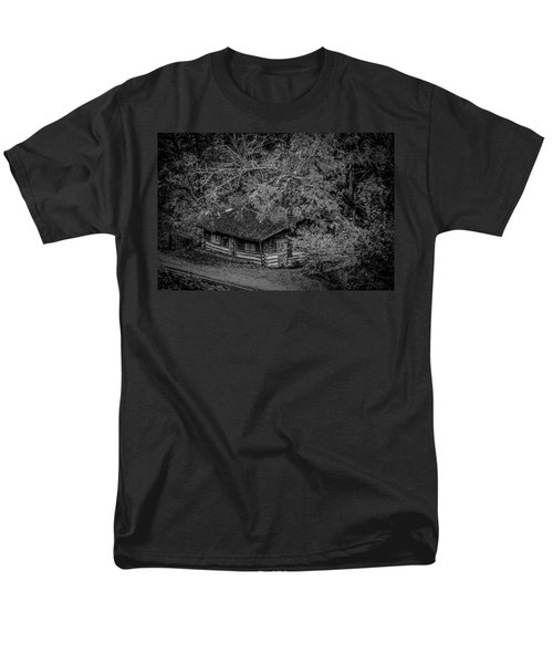 Men's T-Shirt  (Regular Fit) featuring the photograph Rustic Log Cabin In Black And White by Kelly Hazel