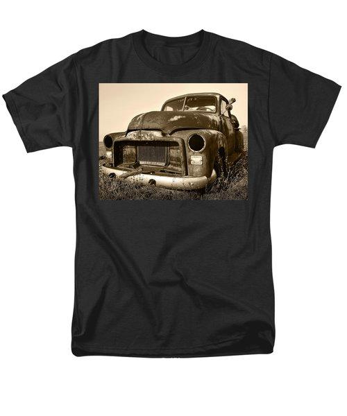 Rusty But Trusty Old Gmc Pickup Truck - Sepia Men's T-Shirt  (Regular Fit) by Gordon Dean II