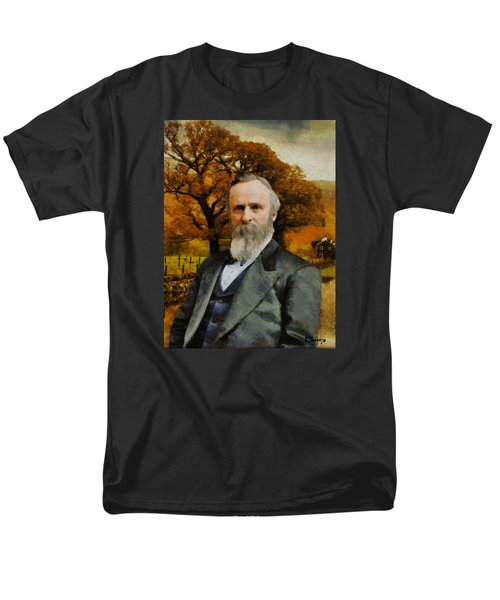 Men's T-Shirt  (Regular Fit) featuring the painting Rutherford B. Hayes by Kai Saarto