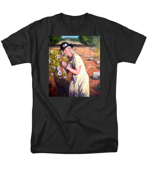 Men's T-Shirt  (Regular Fit) featuring the painting Santa Fe Garden 2   by Donelli  DiMaria